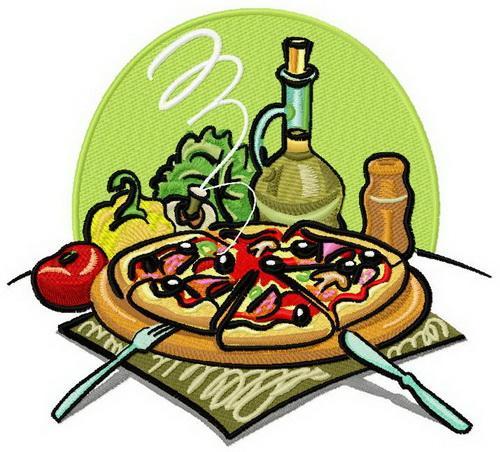 Pizza machine embroidery design