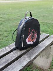 Embroidered backpack with Fox family design