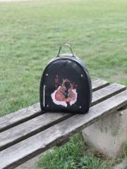 Embroidered backpack with Two foxes design