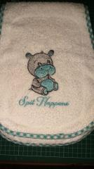 Embroidered bib with Hippo design