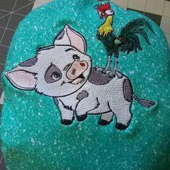 Piggy and cock embroidery design