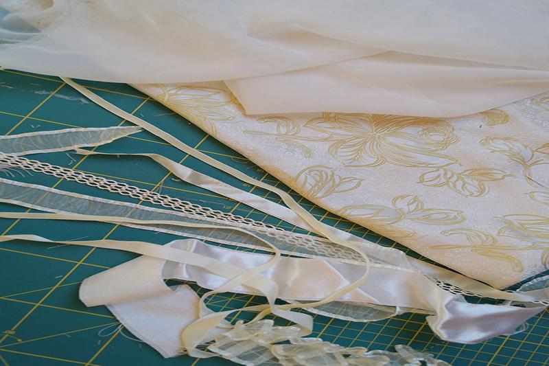 White fabric and ribbons