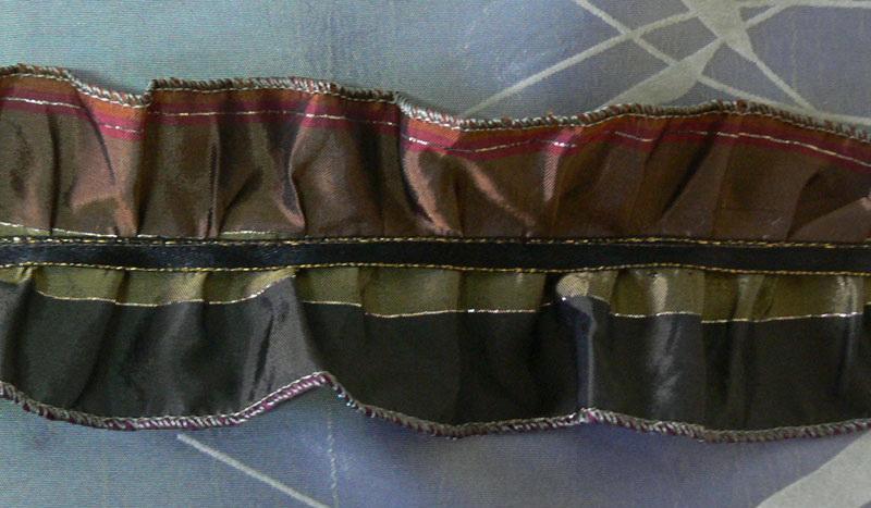 Green and brown ruffled ribbon
