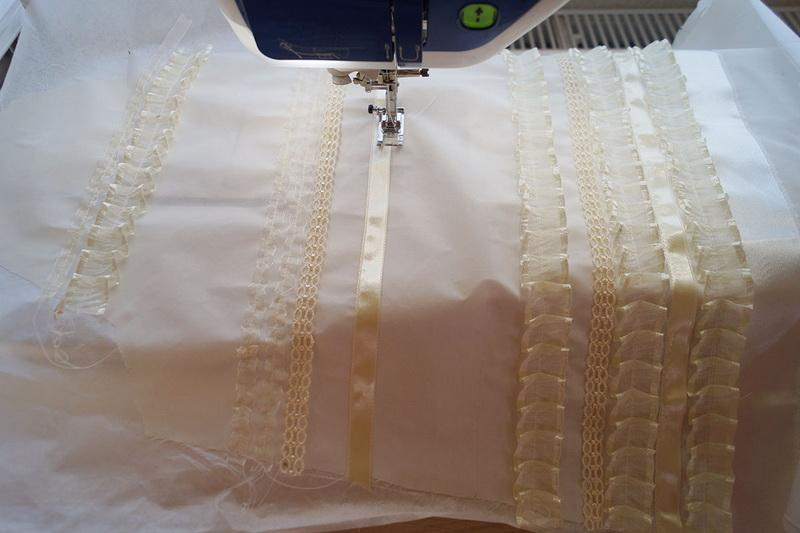 Sewing white ruffles to sleeves