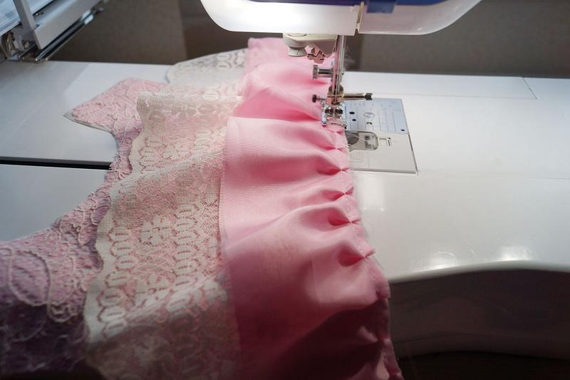 Sewing second tier of ruffles on skirt