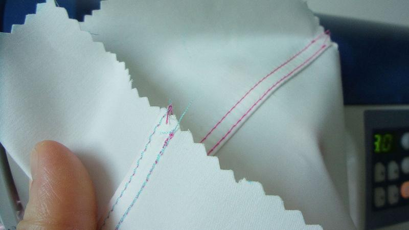 Double stitched seam right and wrong sides