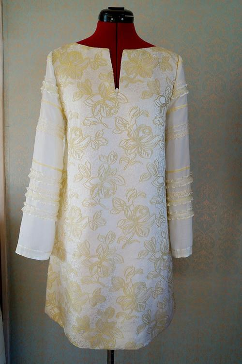 White dress with flowers and revamped sleeves