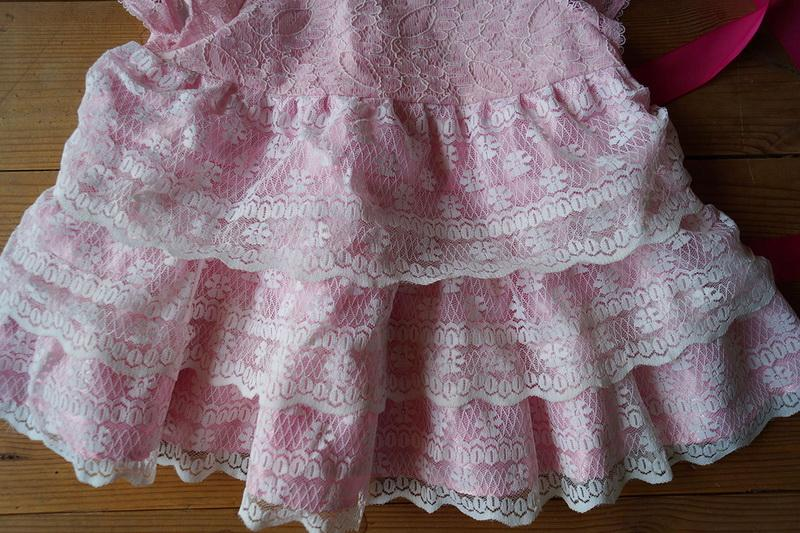Three-tier lacy skirt with satin lining