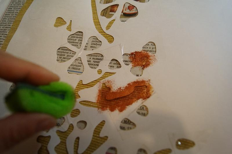 Painting sponge and stencil