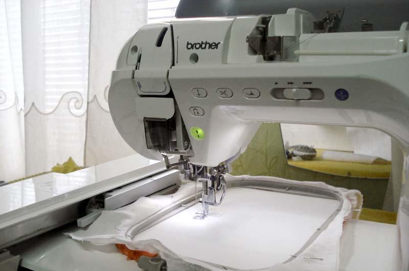 Fabric under presser foot