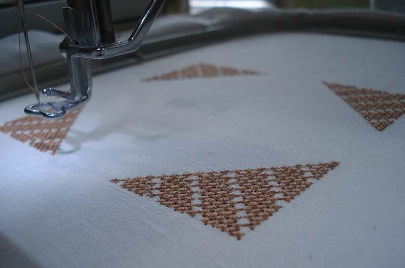White fabric with embroidery