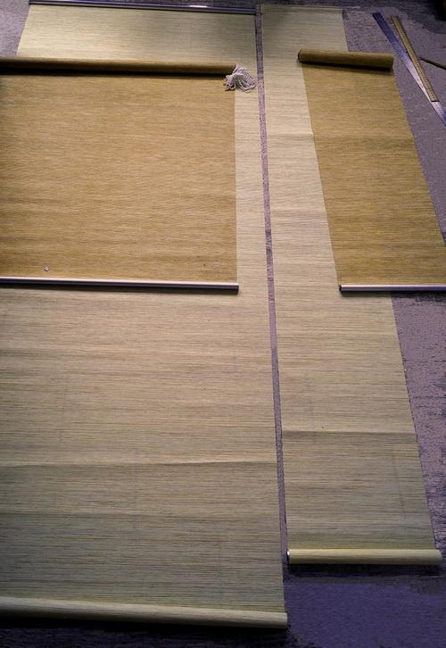 Two roller shades prepared for cutting