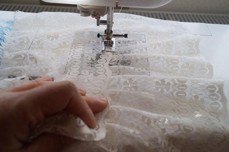 Stitching together two pieces of lace