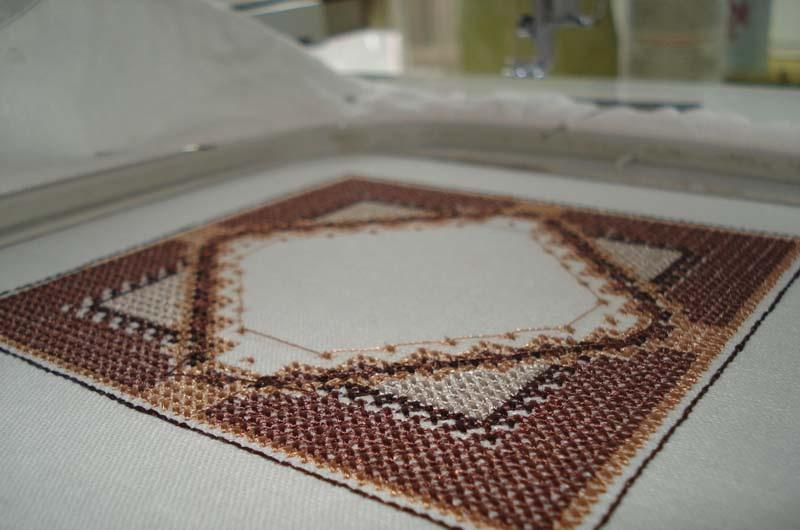 Embroidered square wrong side
