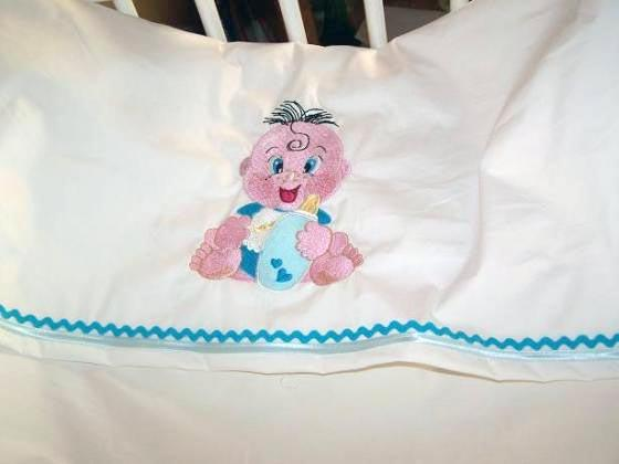 Blanket with baby free embroidery design