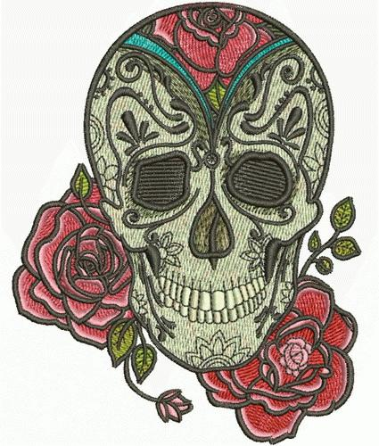 skull and rose machine embroidery design