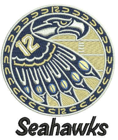Seahawks circle logo embroidery design
