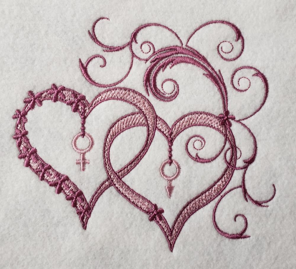 Forever hearts embroidered design