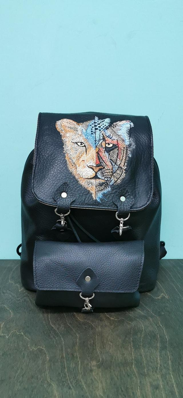 Embroidered backpack with Unreal lion design