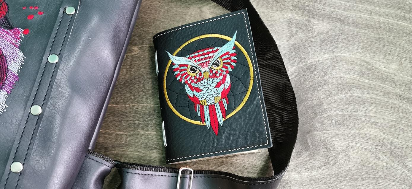 Embroidered notepad with Owl design