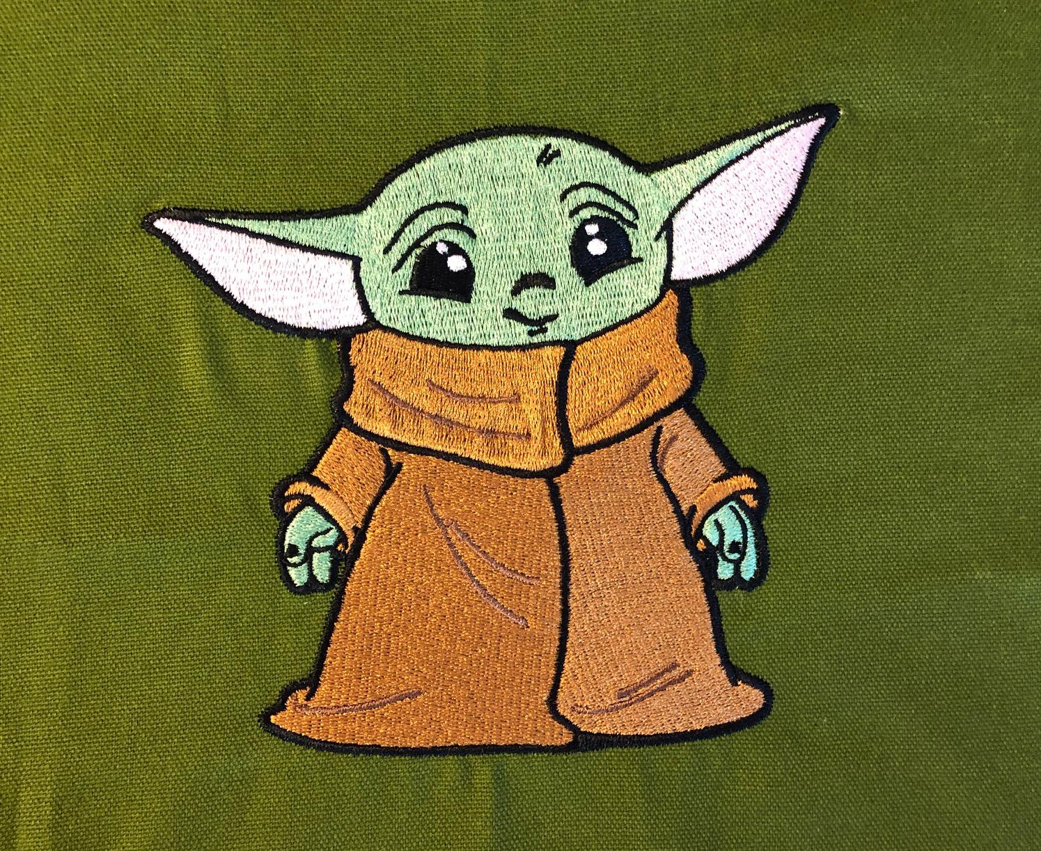 Embroidered baby yoda design