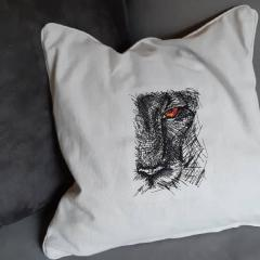 Embroidered pillowcase with lion's face