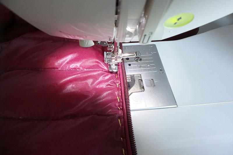 Basted zipper on the front side