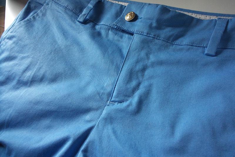 Blue shorts with zipper on women's side