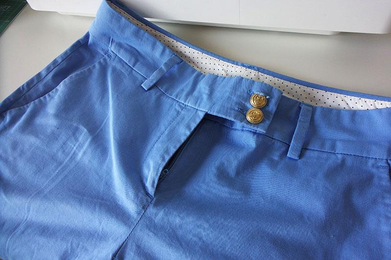 Blue shorts with zipper on men's side