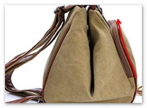 Bag side with zipper