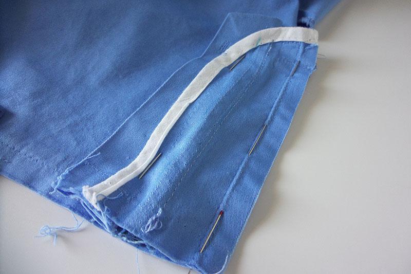 Zipper pinned to shorts