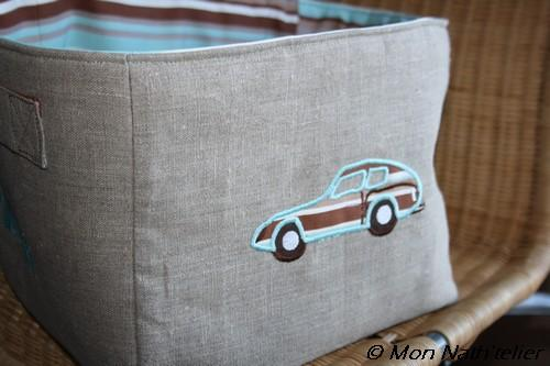 Embroidered bag with Car applique