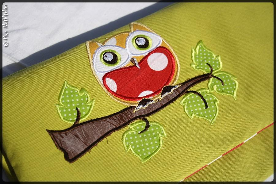Embroidered owl in branch applique free embroideryd esign