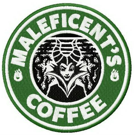 Maleficent's coffee embroidery design