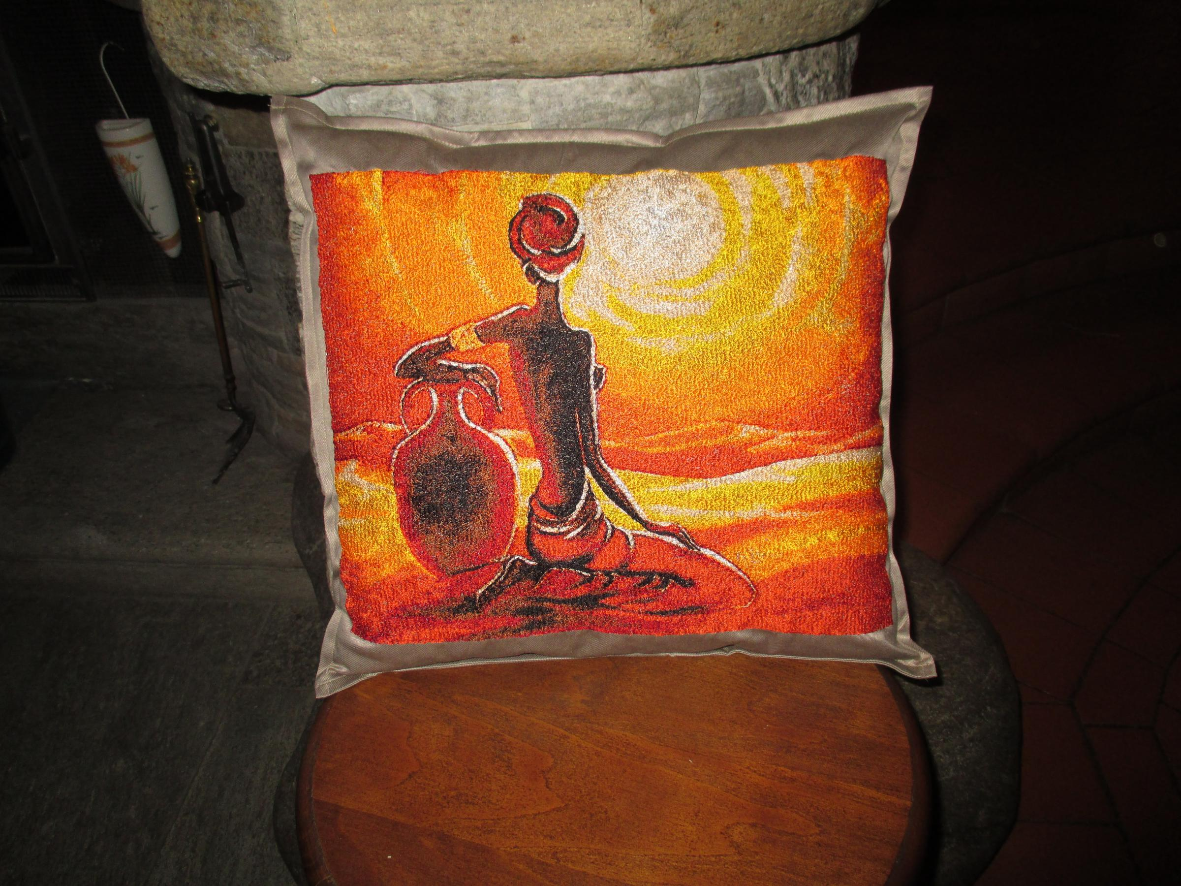 Embroidered pillow with Africa sunset design