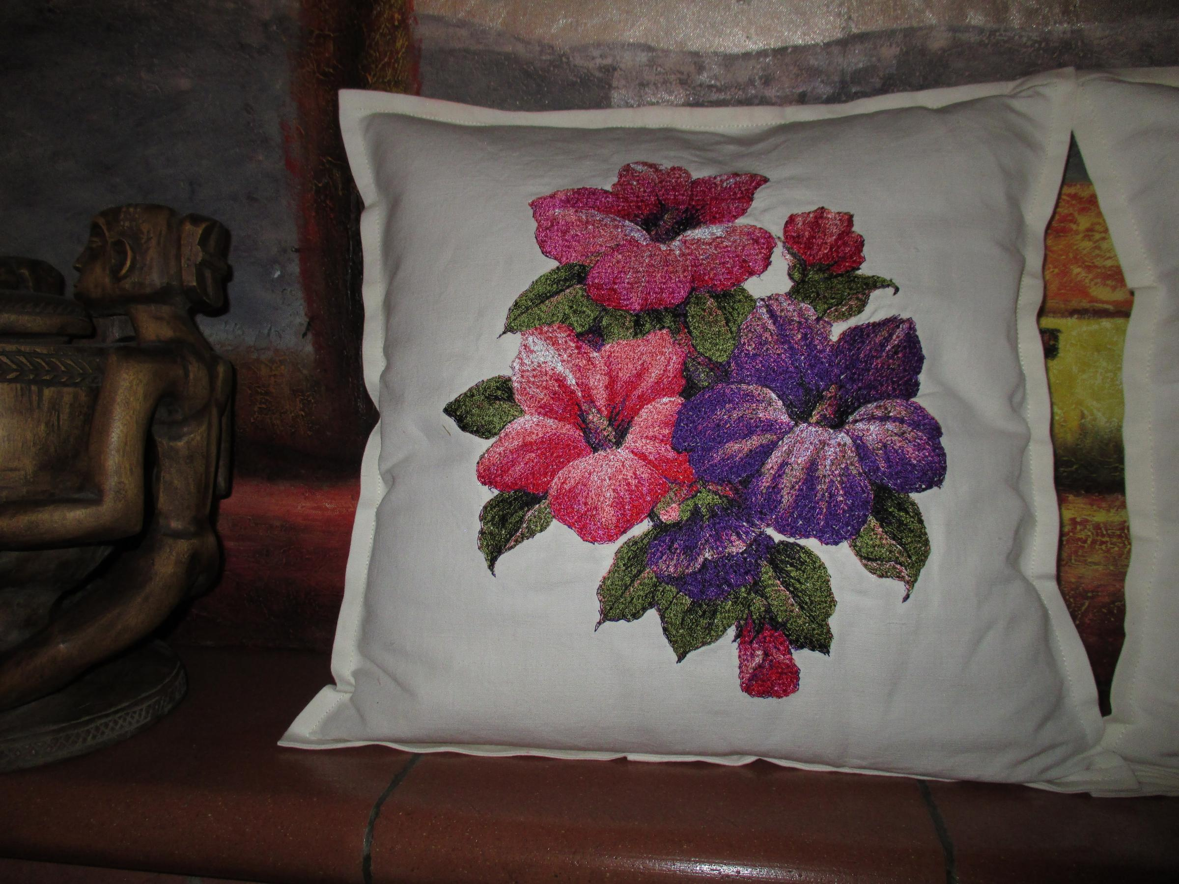 Embroidered cushion with Hibiscus photo stitch free embroidery design