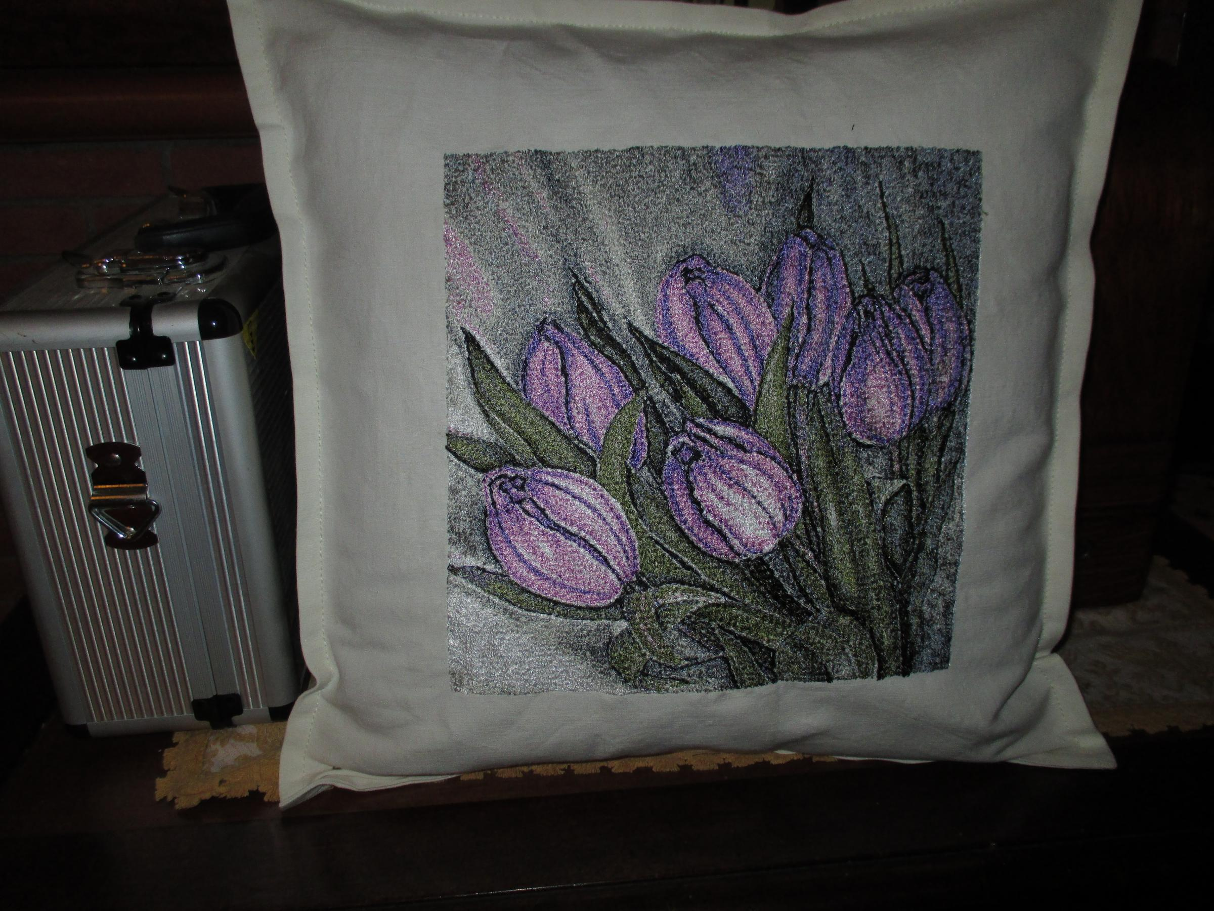 Embroidered cushion with Tulips photo stitch design