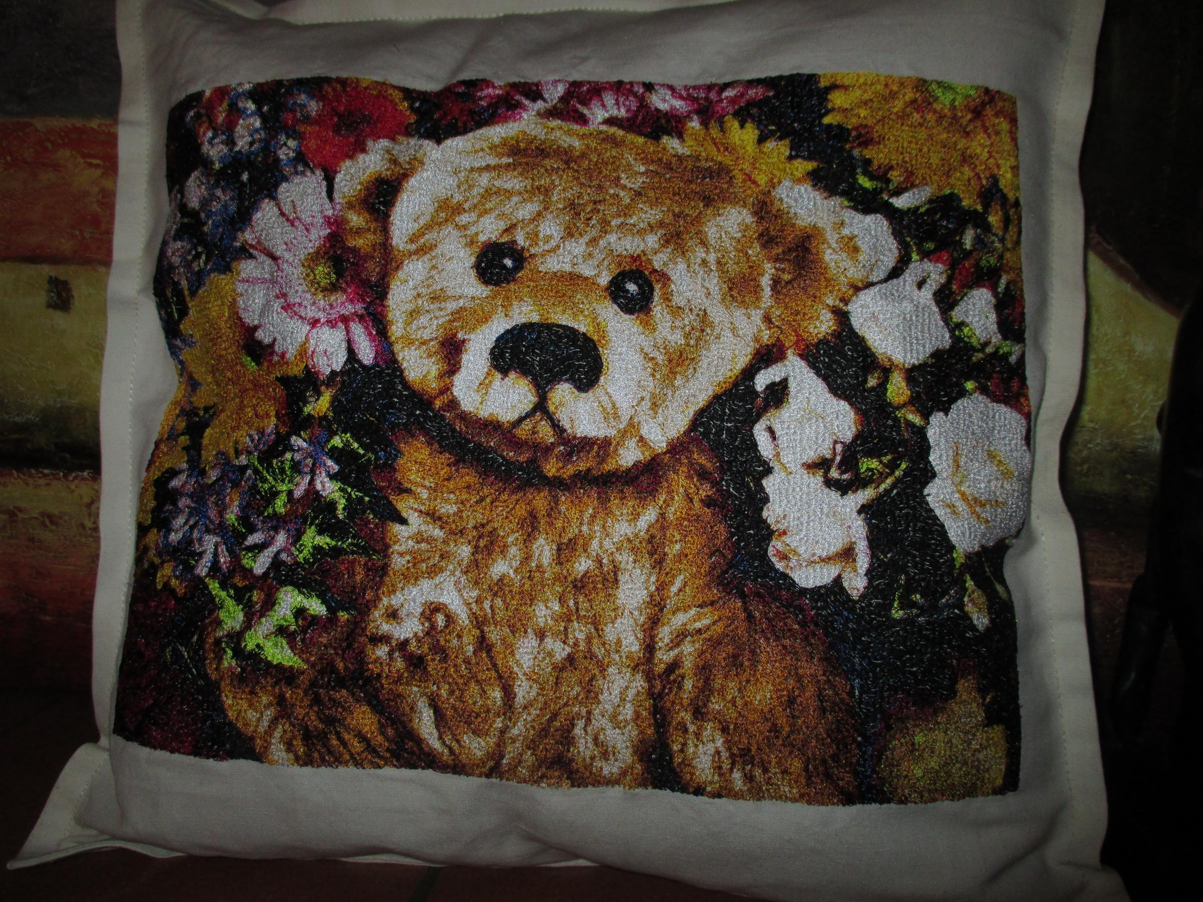 Embroidered cushion with Bear and flower photo stitch free embroidery