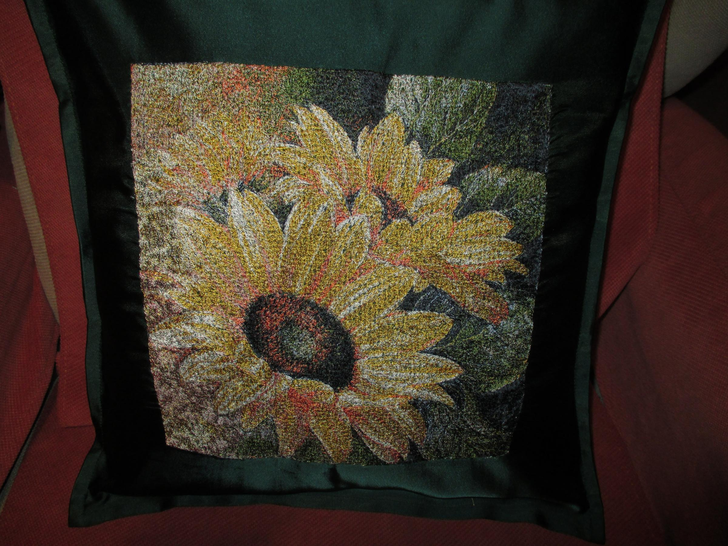 Embroidered cushion with Sunflowers photo stitch free embroidery design