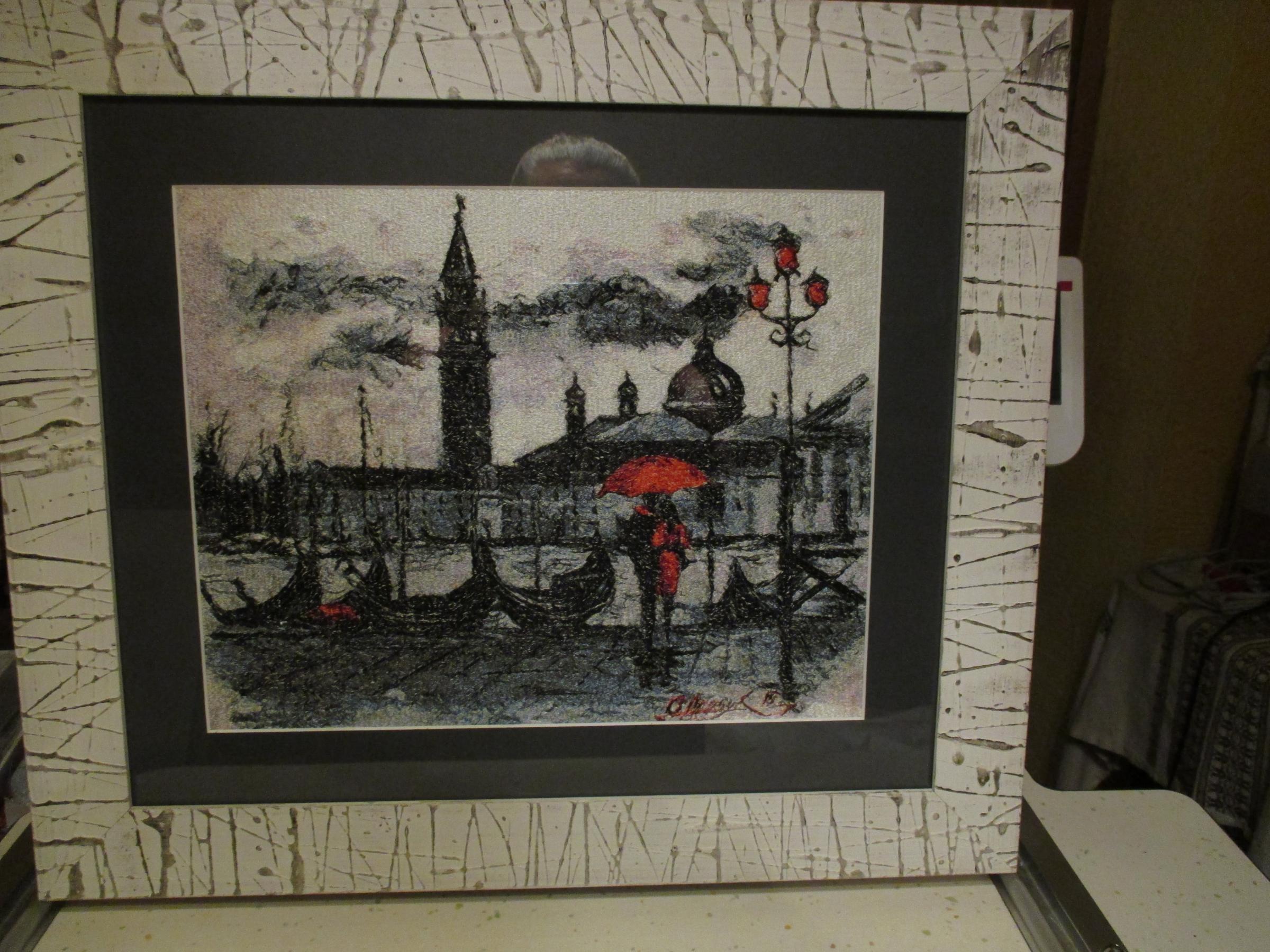 Italy rain photo stitch embroidery design