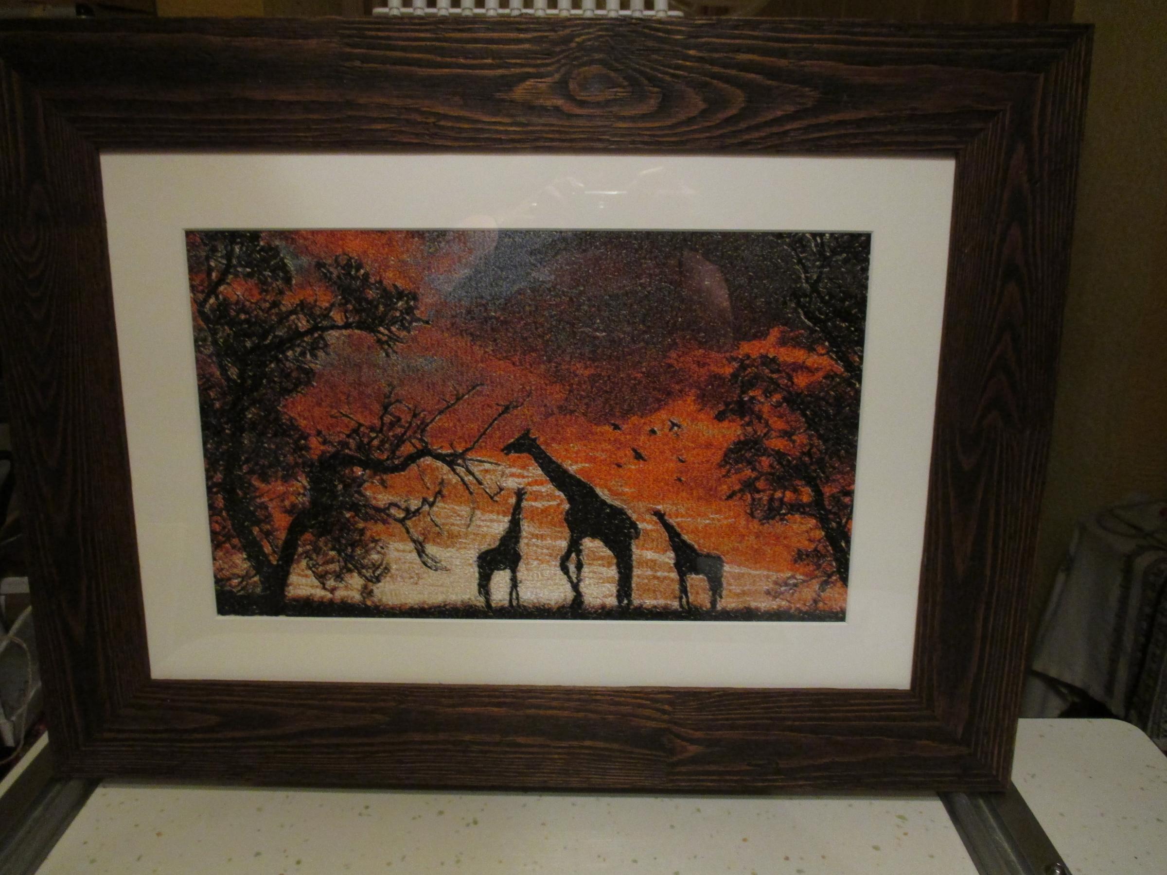 Africa sunset photo stitch embroidery design