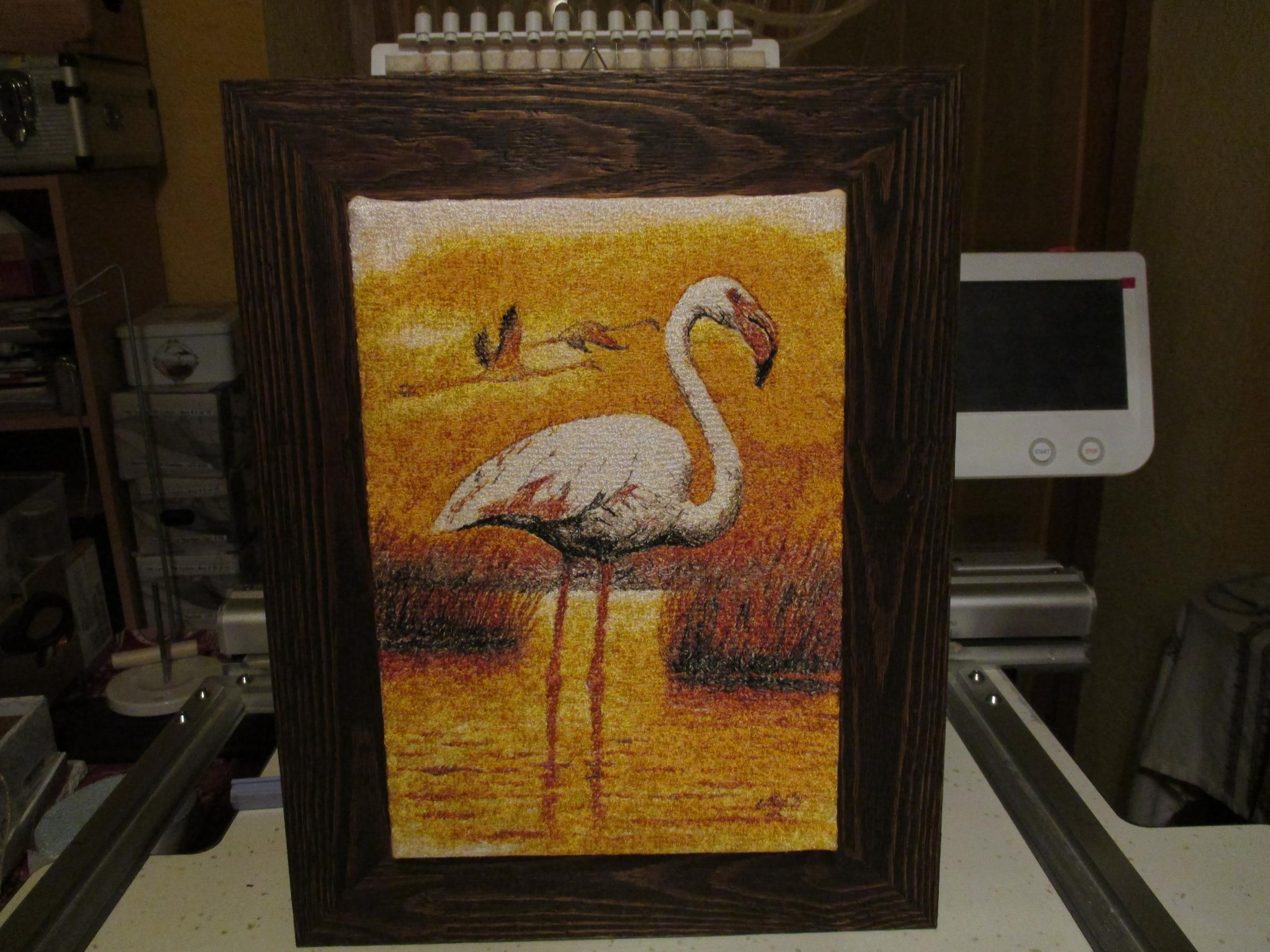 Finished flamingo freeembroidery design
