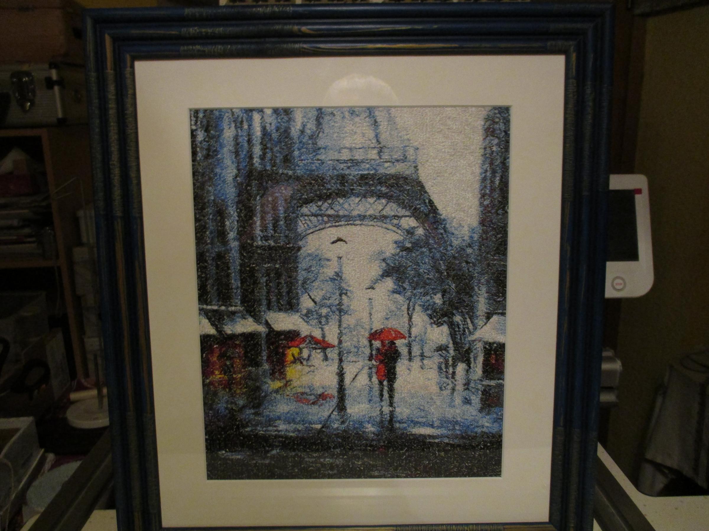 Paris rain photo stitch embroidery design