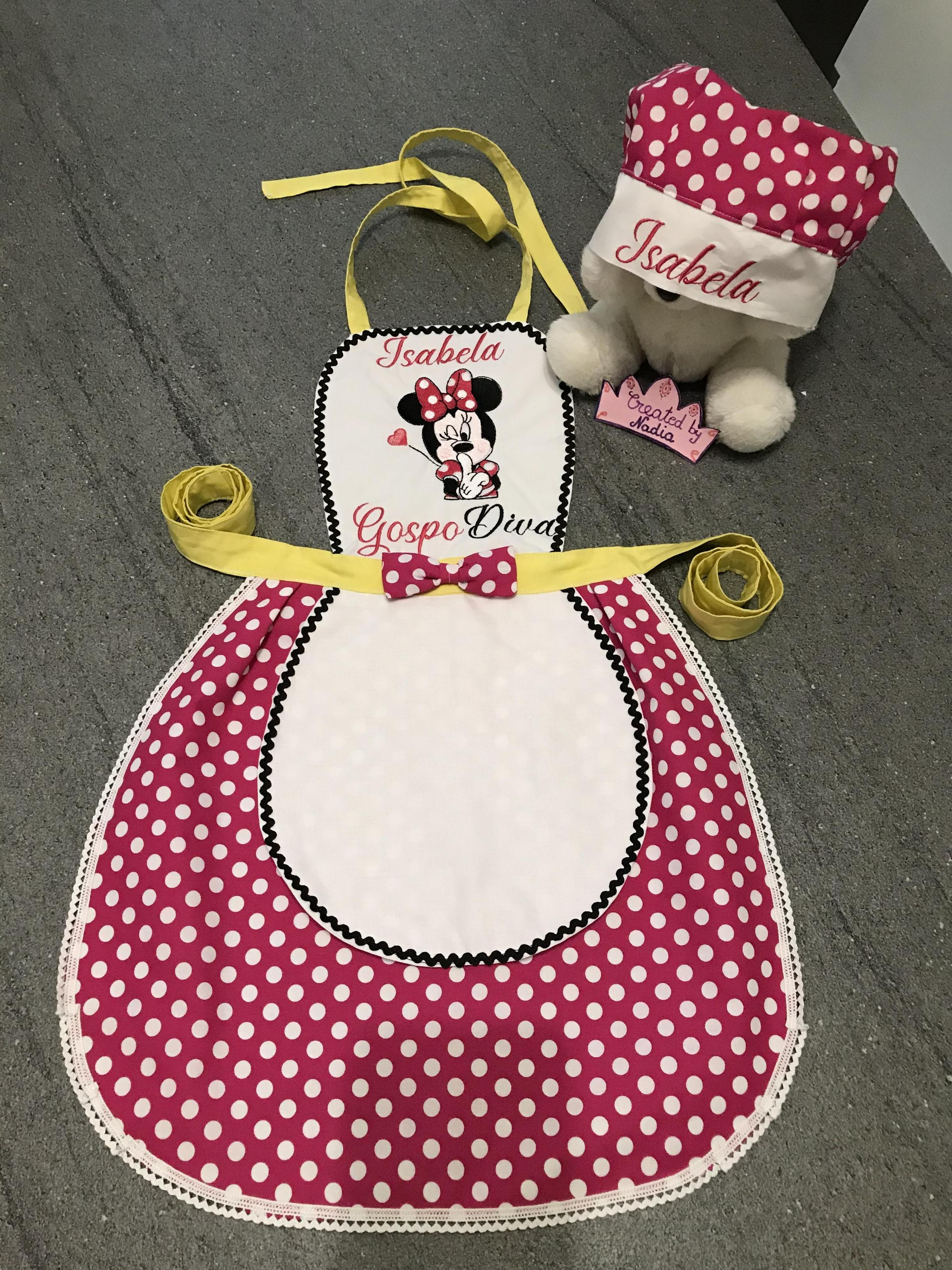 Baby apron with emroidered Be quite Minnie design