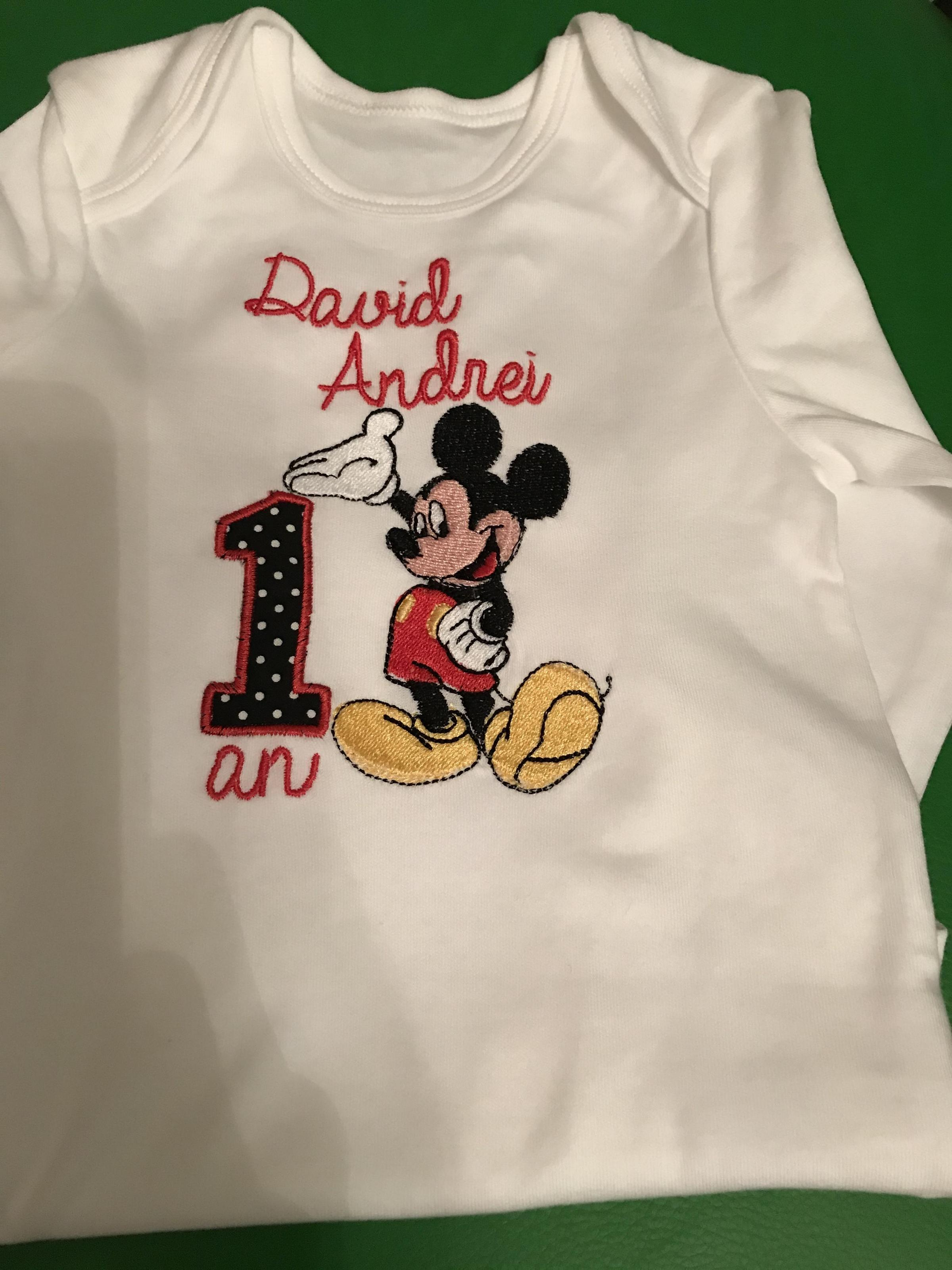Embroidered baby hoody with Mickey Mouse design