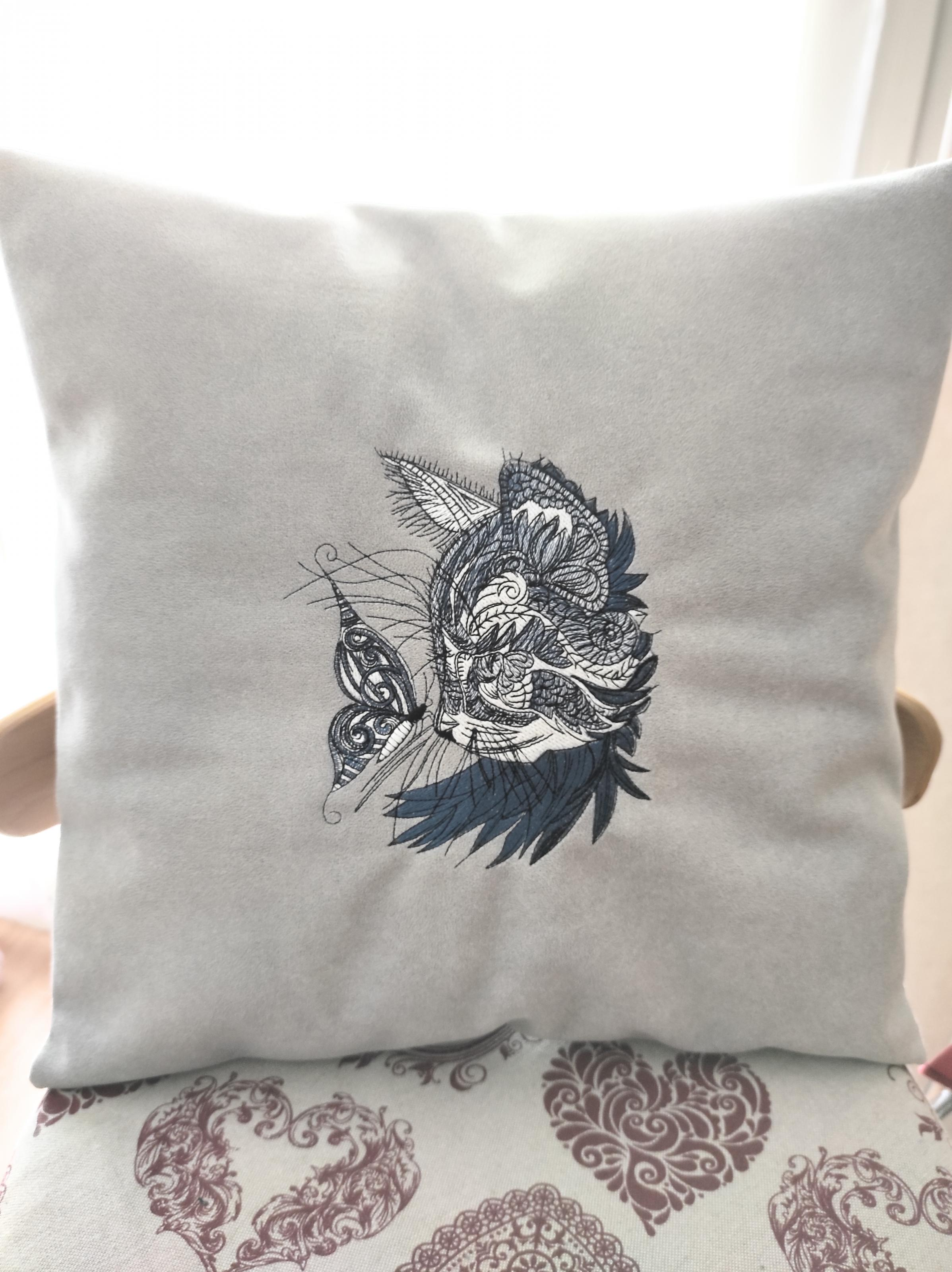 Embroidered cushion with Mosaic cat and butterfly