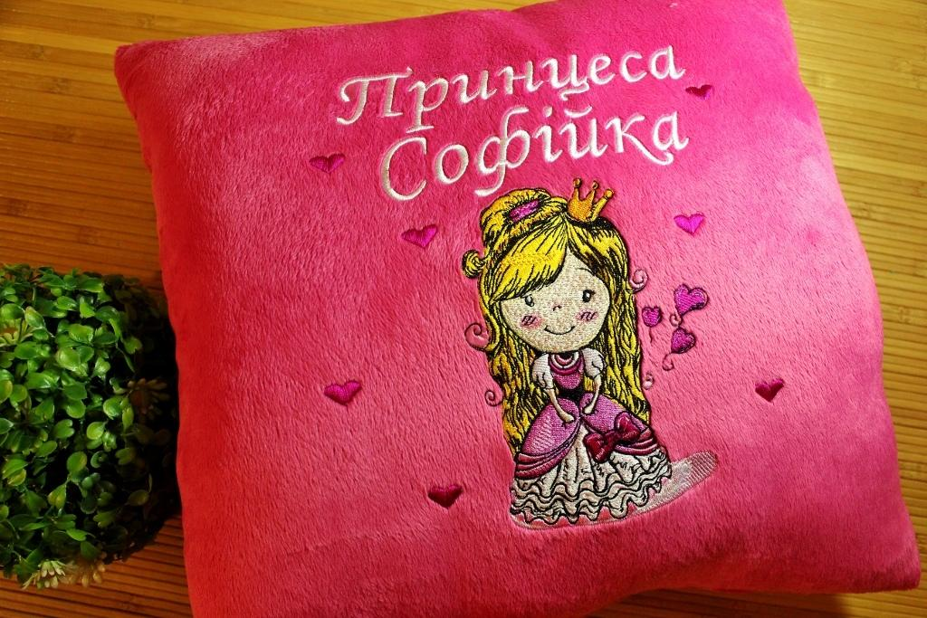 Embroidered cushion with Princess design