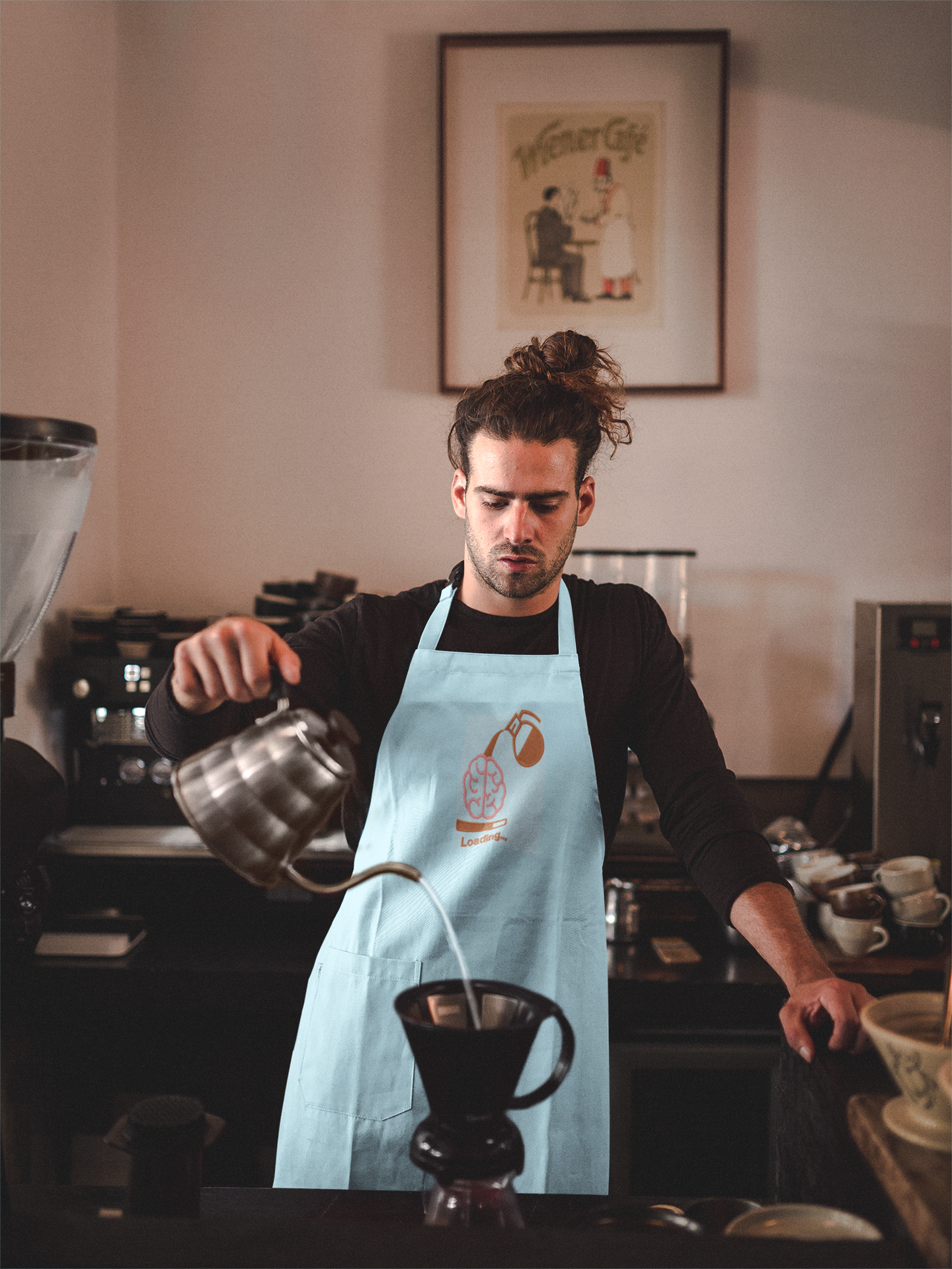 Embroidered apron with Energy design