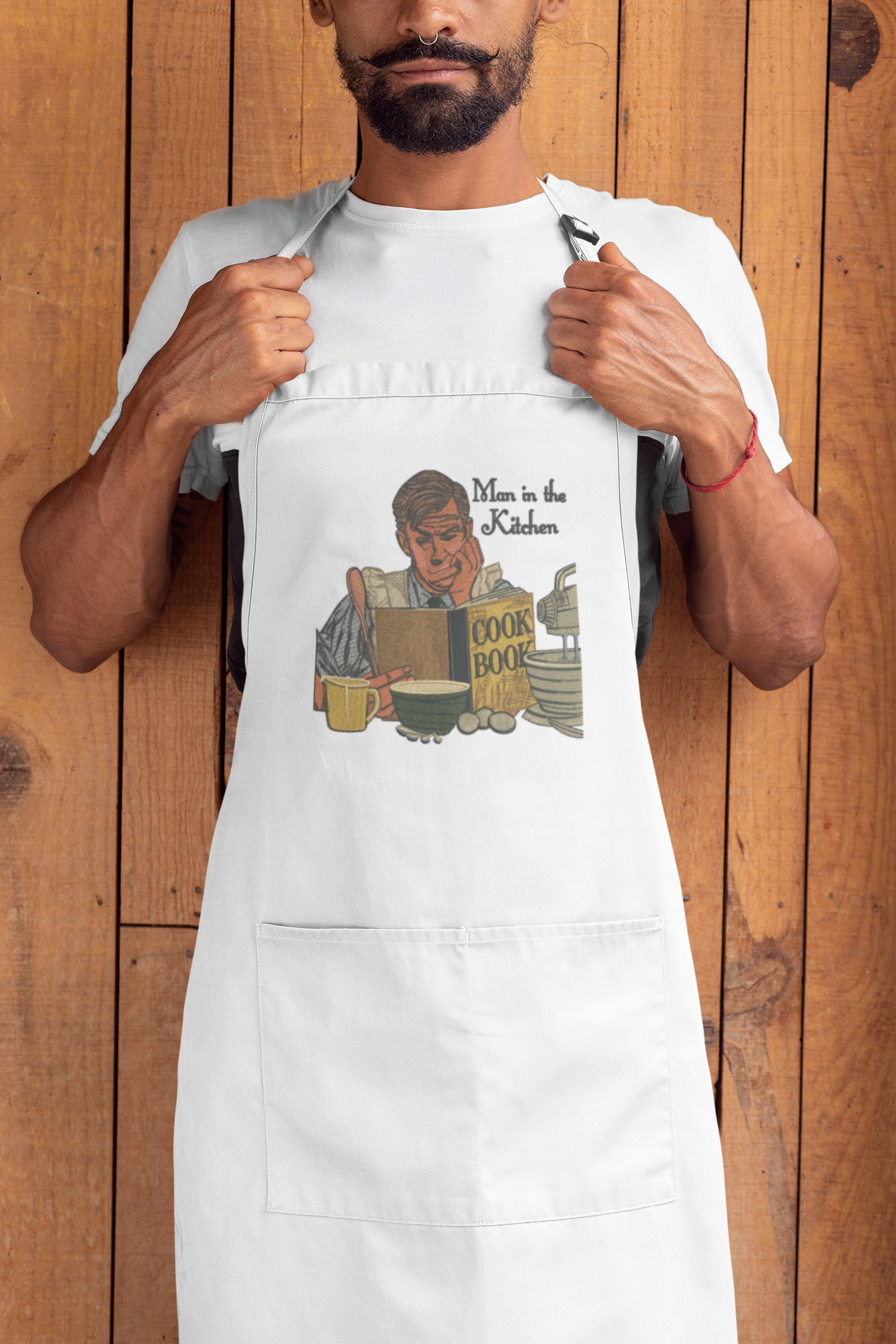 Embroidered apron with Man in kitchen design