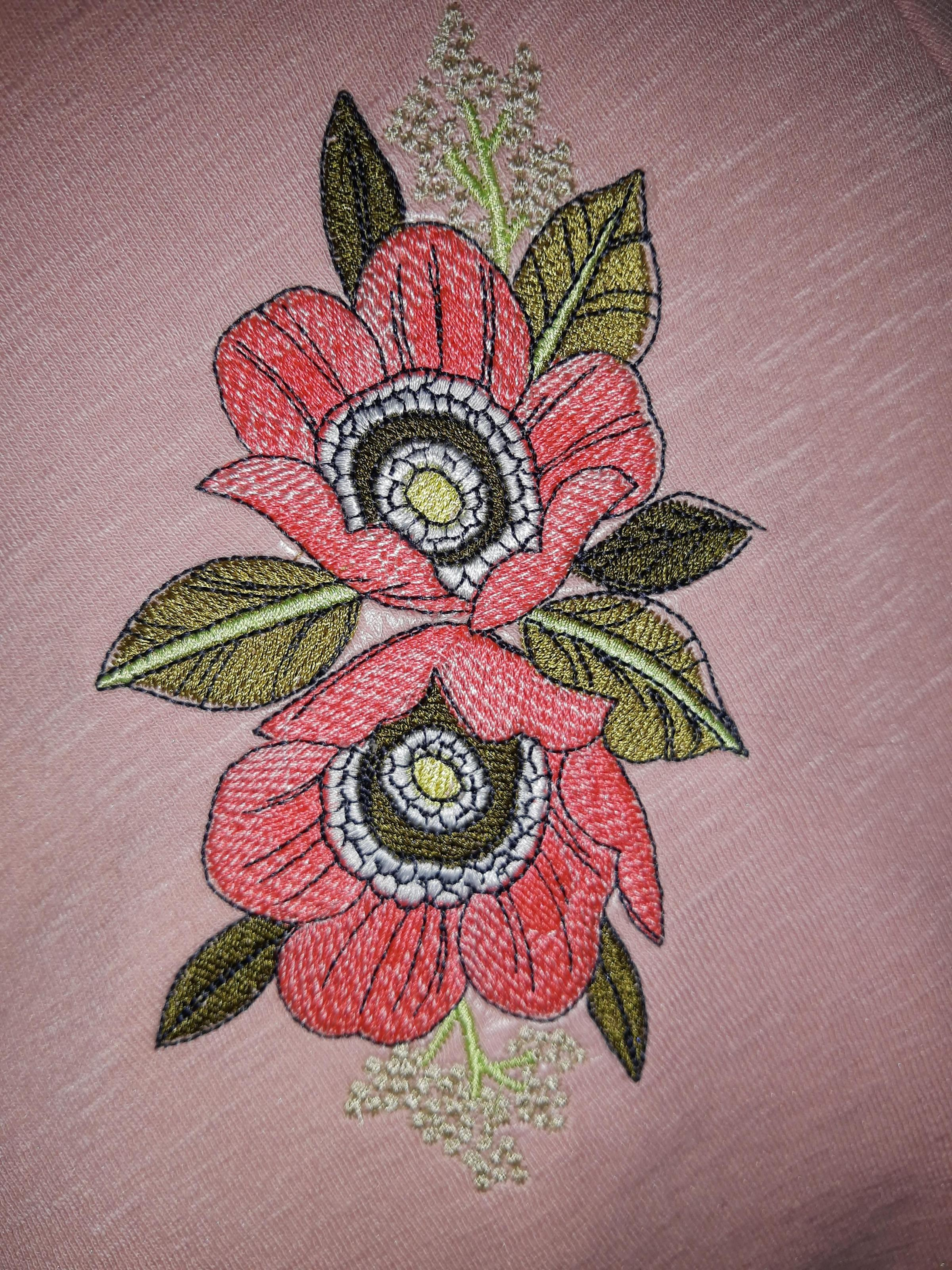Two dog-rose embroidery design